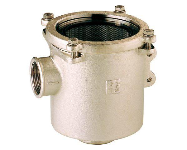 Bronzen koelwaterfilters zij - onder aansluiting