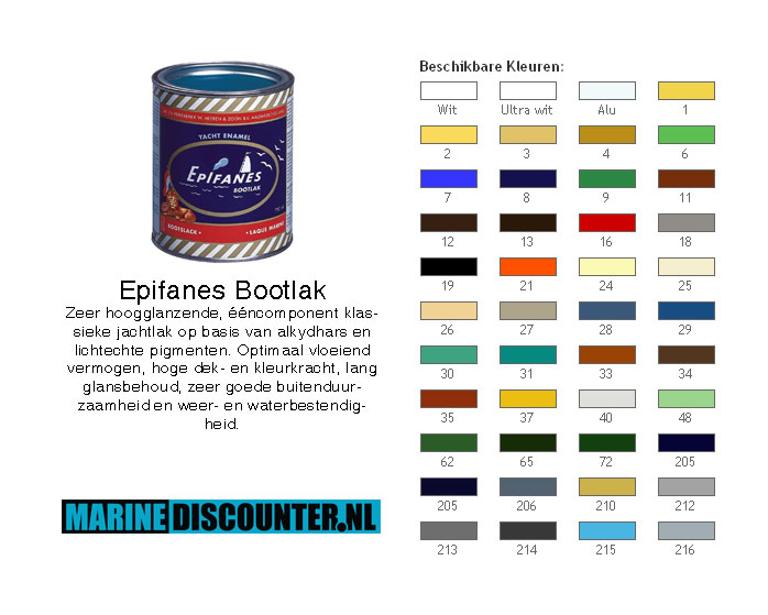 Epifanes Bootlak Kleurenkaart 750 ml