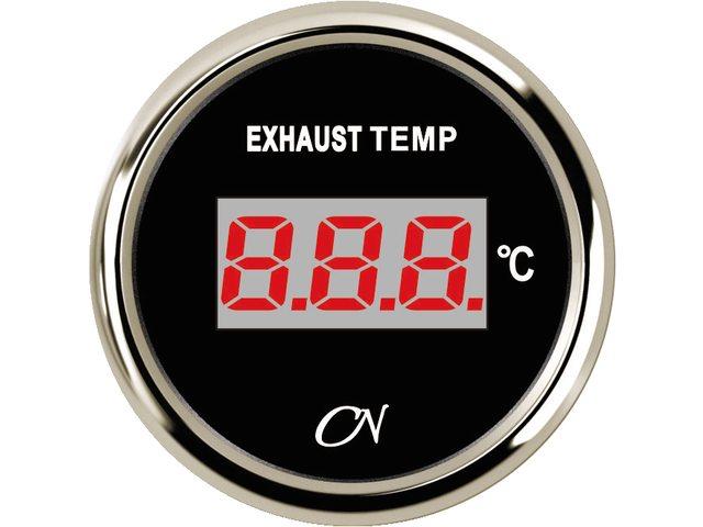 Uitlaattemperatuurmeter digitaal Zwart Chroom